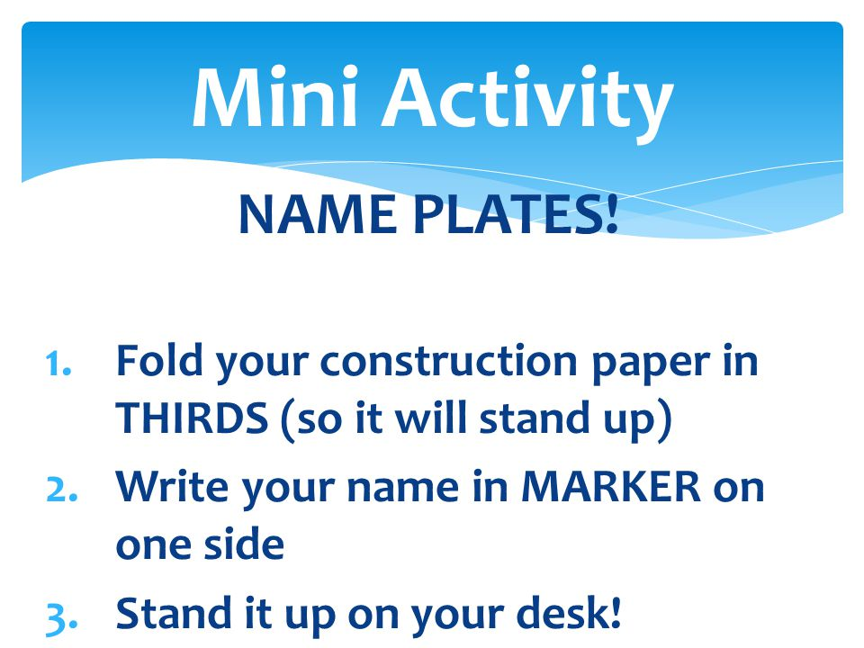 Mini Activity NAME PLATES!