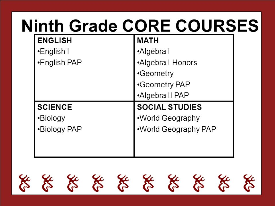 Ninth Grade CORE COURSES