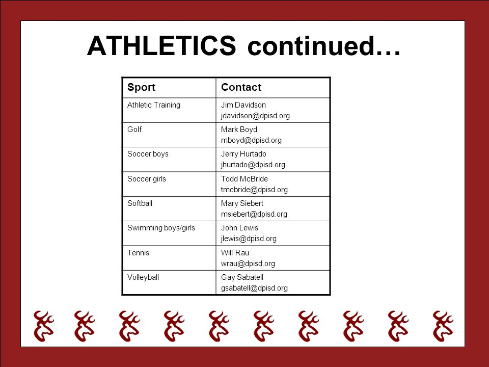 ATHLETICS continued… Sport Contact Athletic Training Jim Davidson