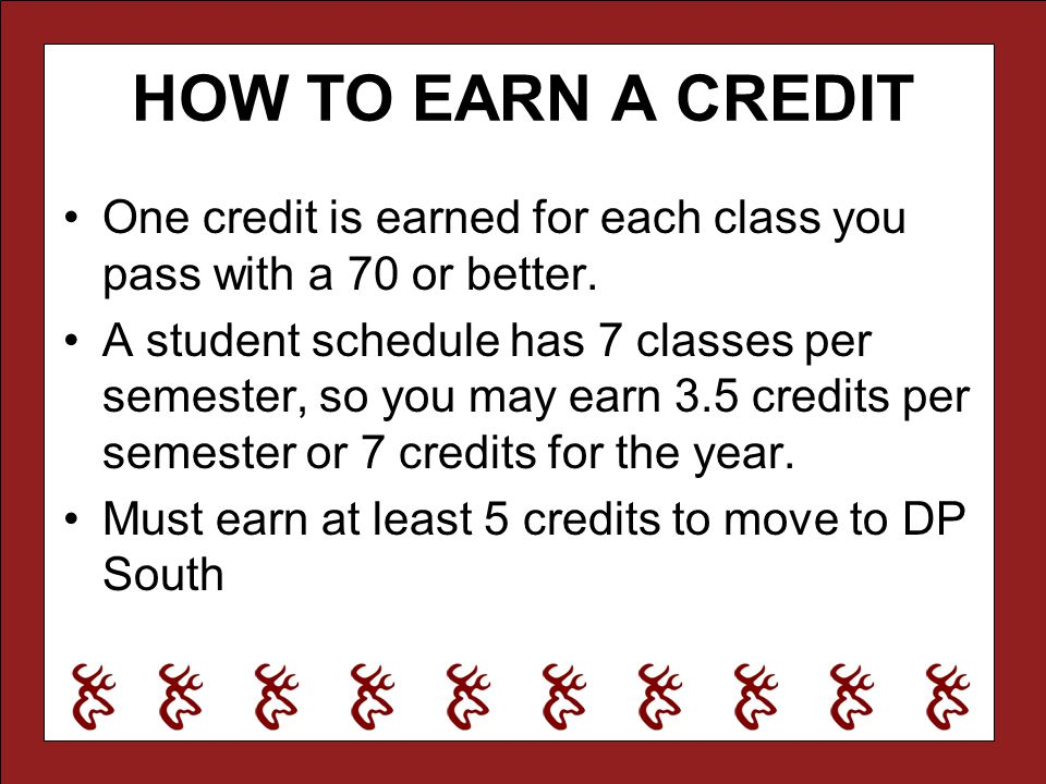 HOW TO EARN A CREDIT One credit is earned for each class you pass with a 70 or better.