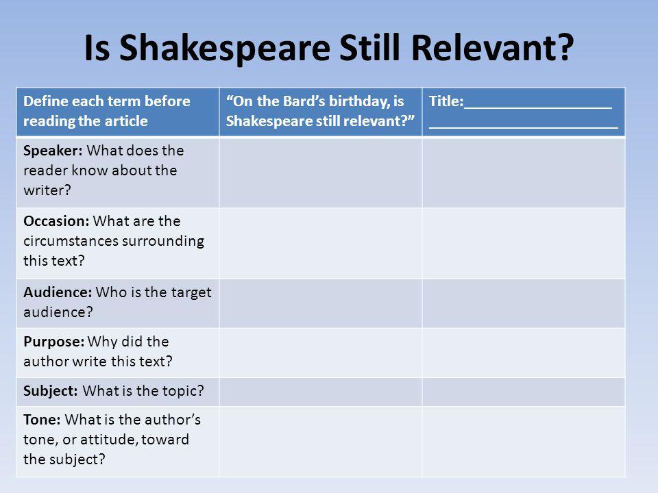 Is Shakespeare Still Relevant