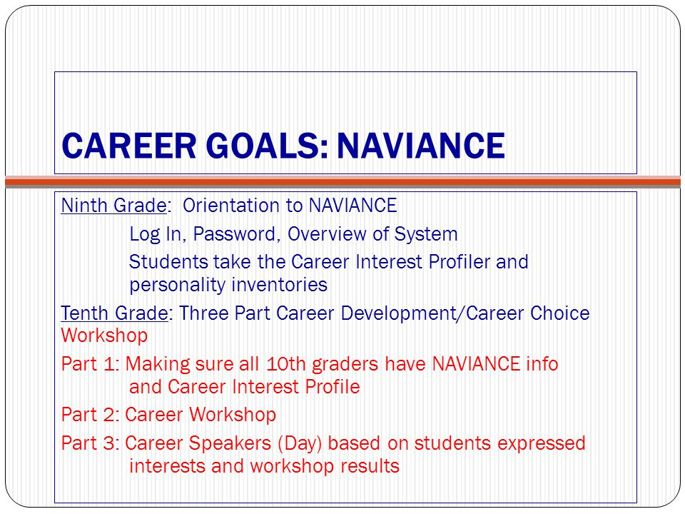 CAREER GOALS: NAVIANCE
