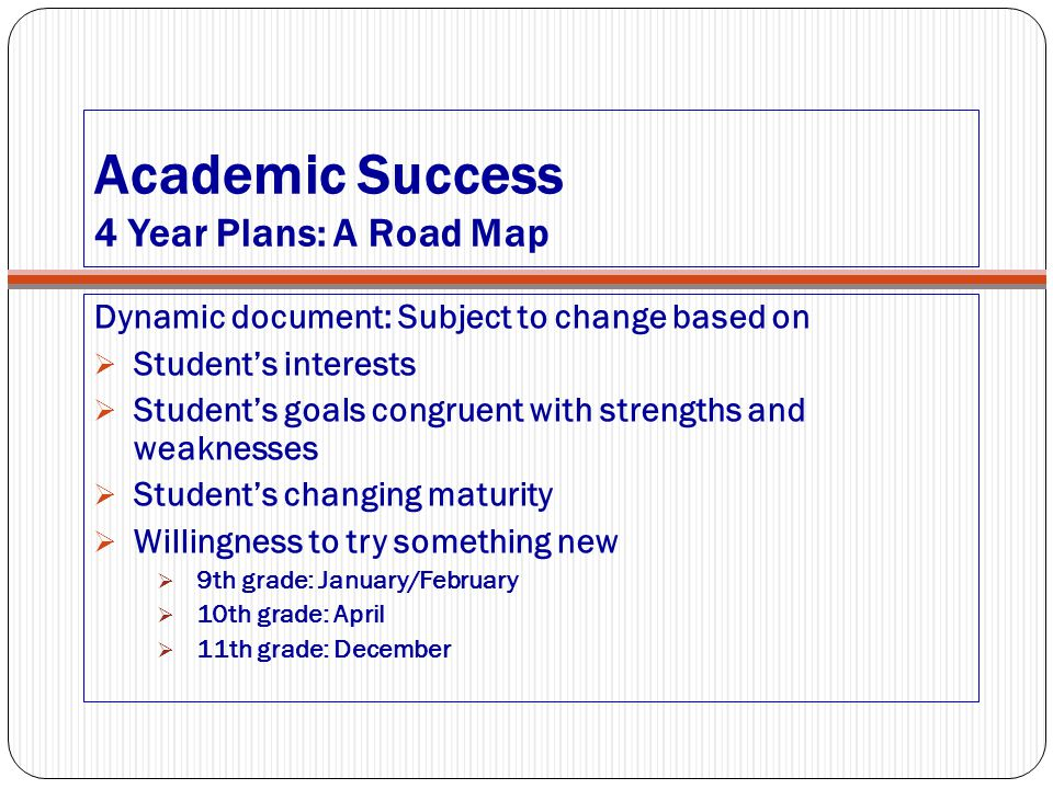 Academic Success 4 Year Plans: A Road Map