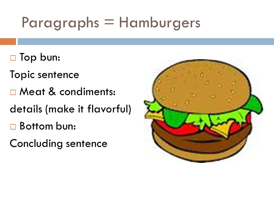 Paragraphs = Hamburgers