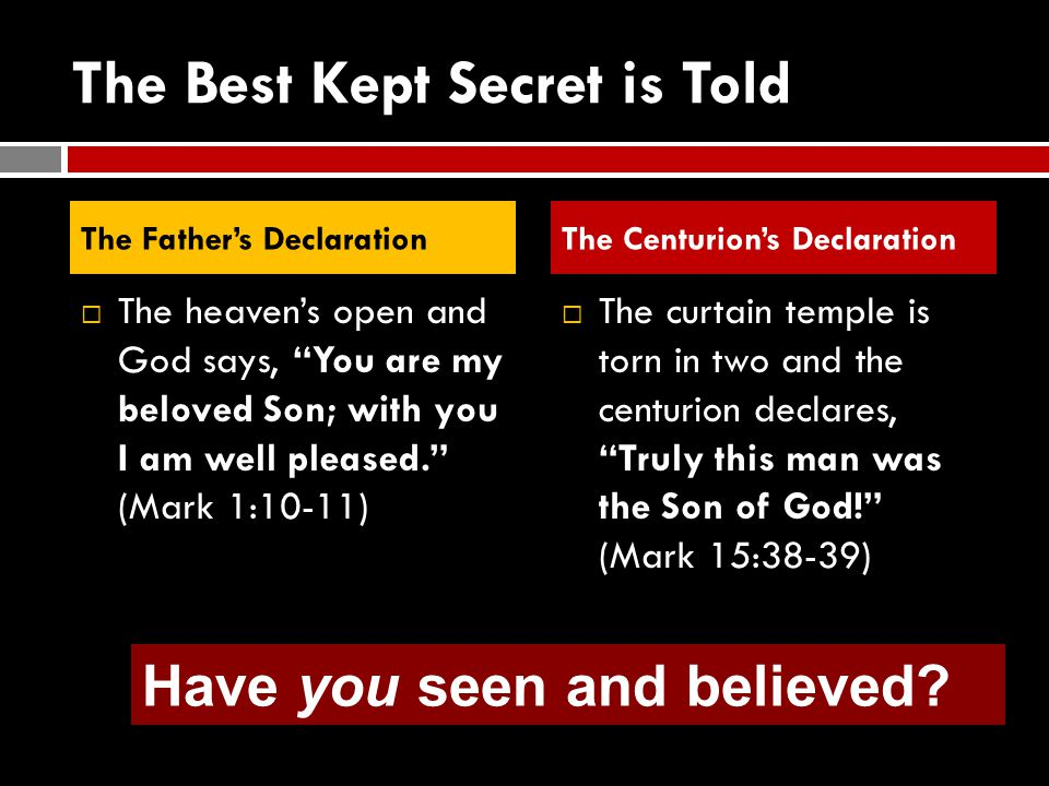 The Best Kept Secret is Told