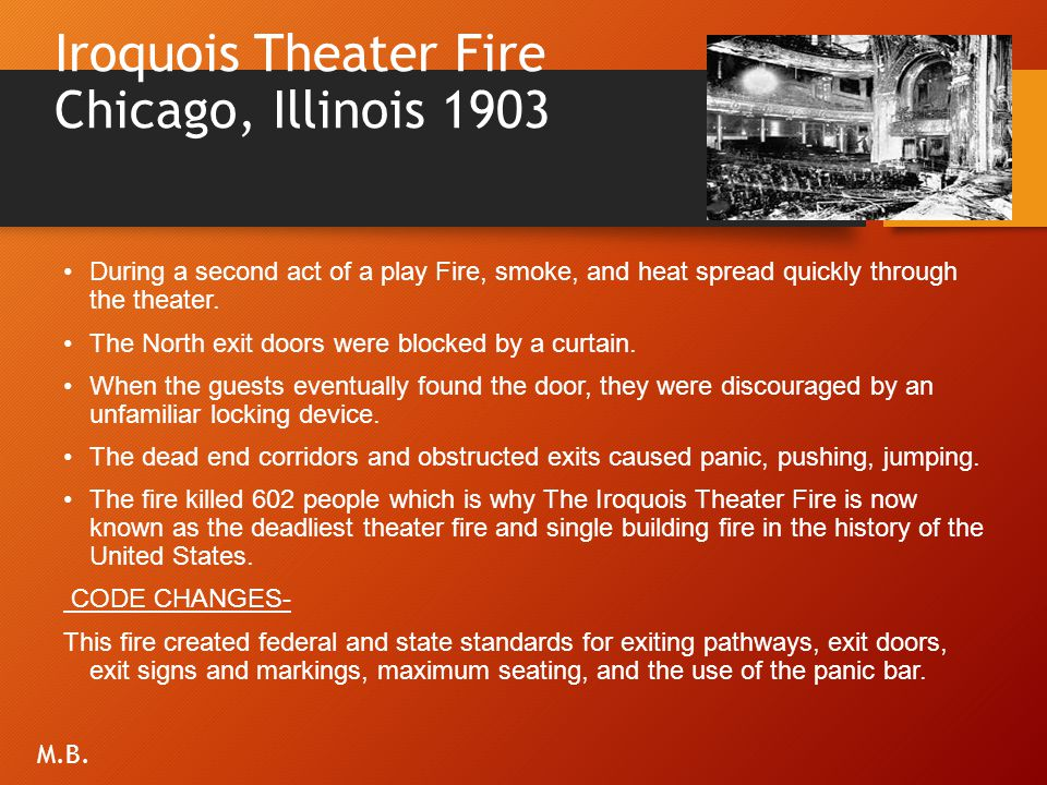 Iroquois Theater Fire Chicago, Illinois 1903