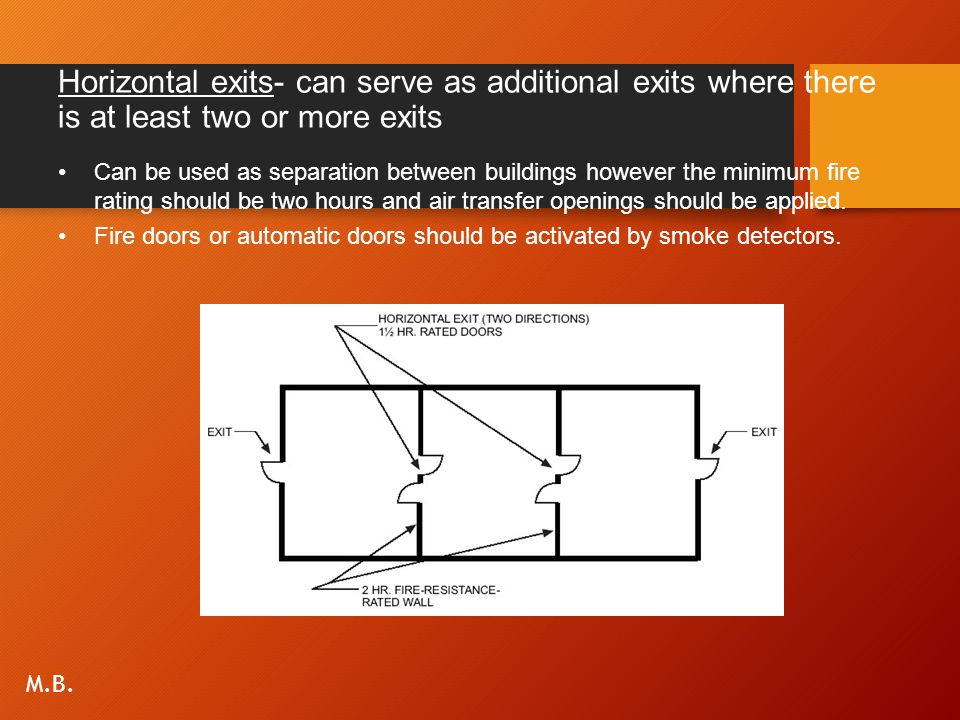 Horizontal exits- can serve as additional exits where there is at least two or more exits