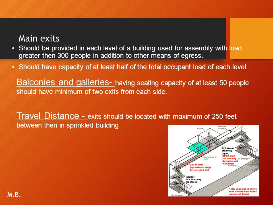Main exits Should be provided in each level of a building used for assembly with load greater then 300 people in addition to other means of egress.