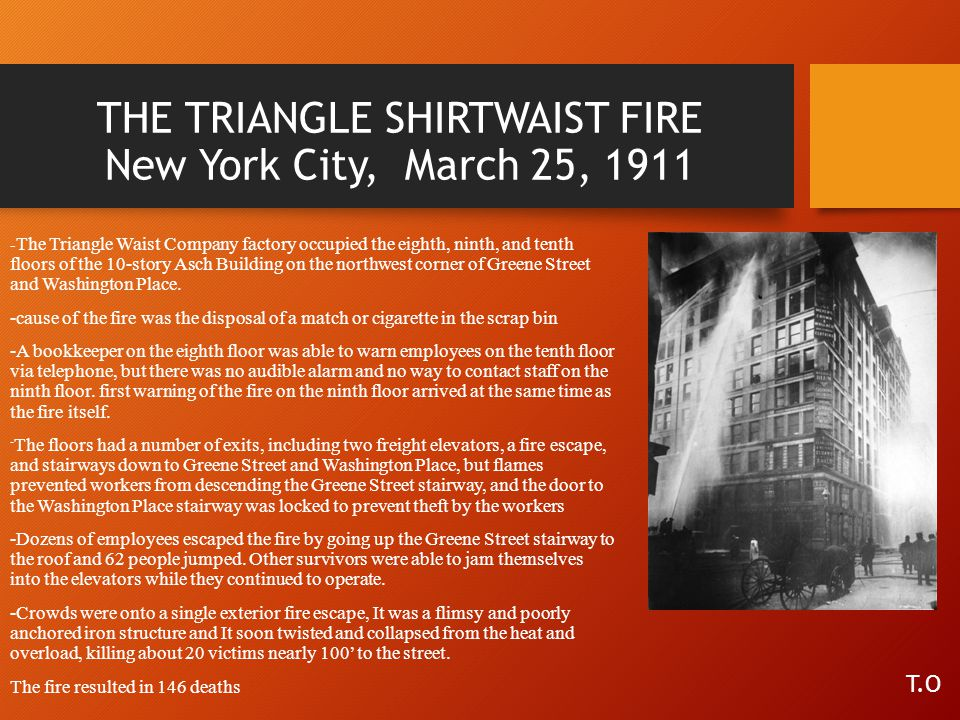 THE TRIANGLE SHIRTWAIST FIRE New York City, March 25, 1911
