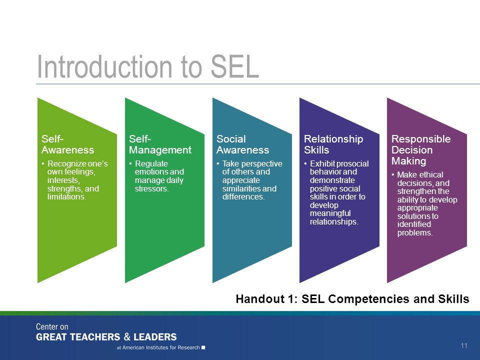 Introduction to SEL Handout 1: SEL Competencies and Skills