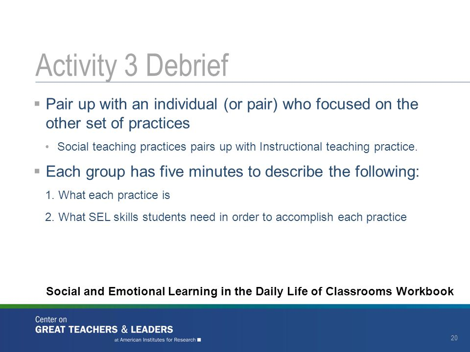 Activity 3 Debrief Pair up with an individual (or pair) who focused on the other set of practices.