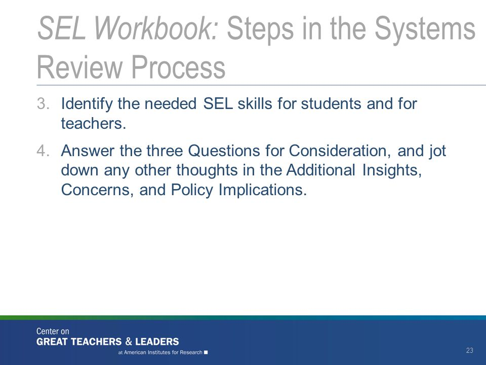 SEL Workbook: Steps in the Systems Review Process