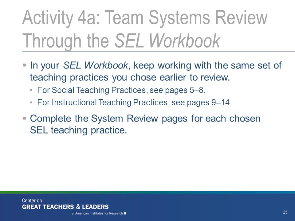Activity 4a: Team Systems Review Through the SEL Workbook