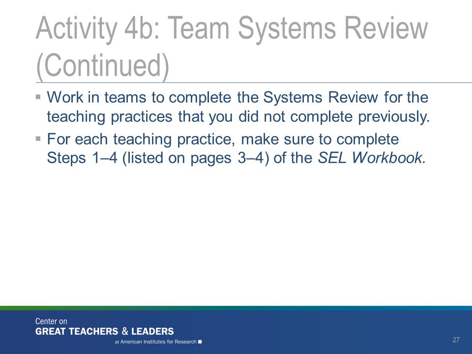 Activity 4b: Team Systems Review (Continued)