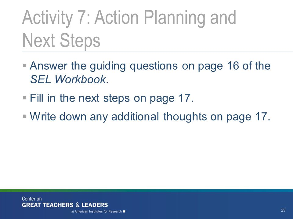 Activity 7: Action Planning and Next Steps