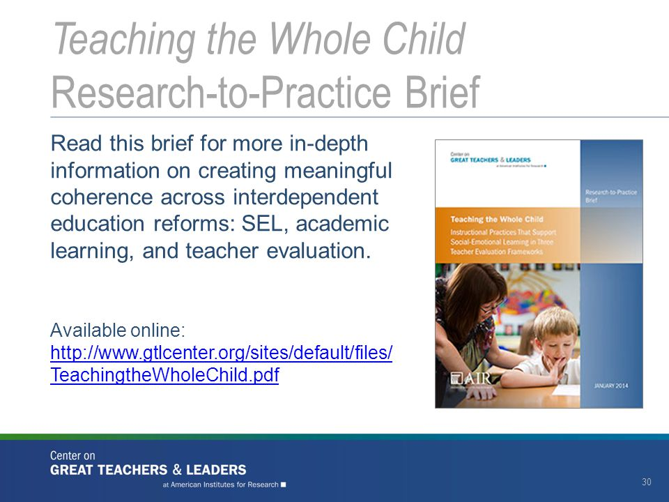 Teaching the Whole Child Research-to-Practice Brief