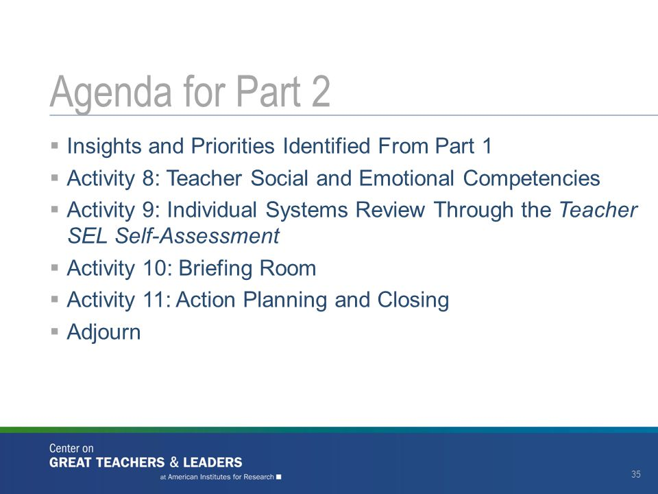 Agenda for Part 2 Insights and Priorities Identified From Part 1