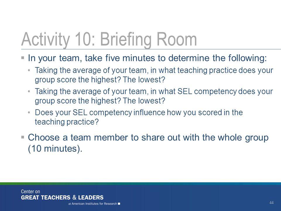 Activity 10: Briefing Room