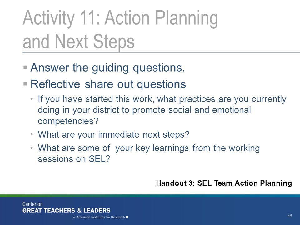 Activity 11: Action Planning and Next Steps
