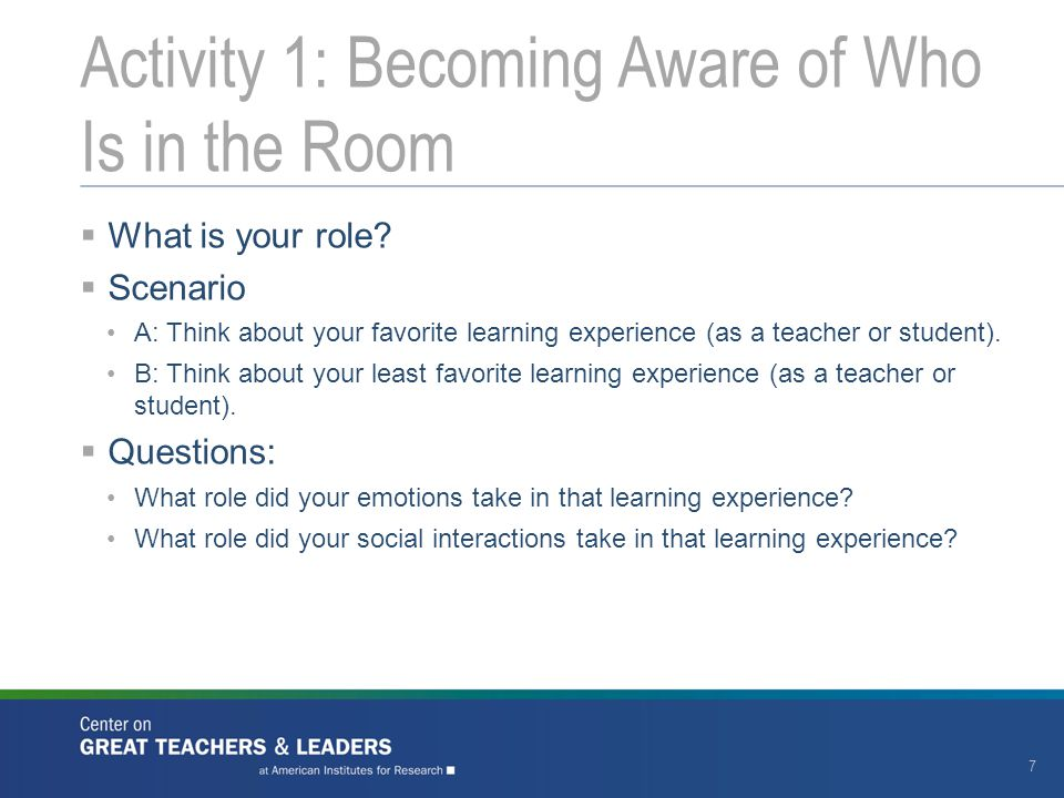Activity 1: Becoming Aware of Who Is in the Room