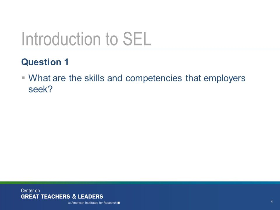 Introduction to SEL Question 1