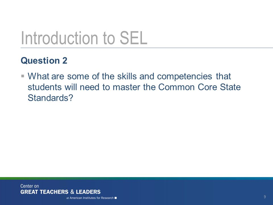 Introduction to SEL Question 2