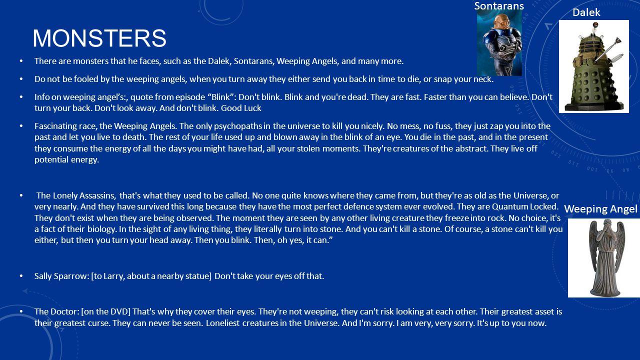 monsters Sontarans Dalek Weeping Angel