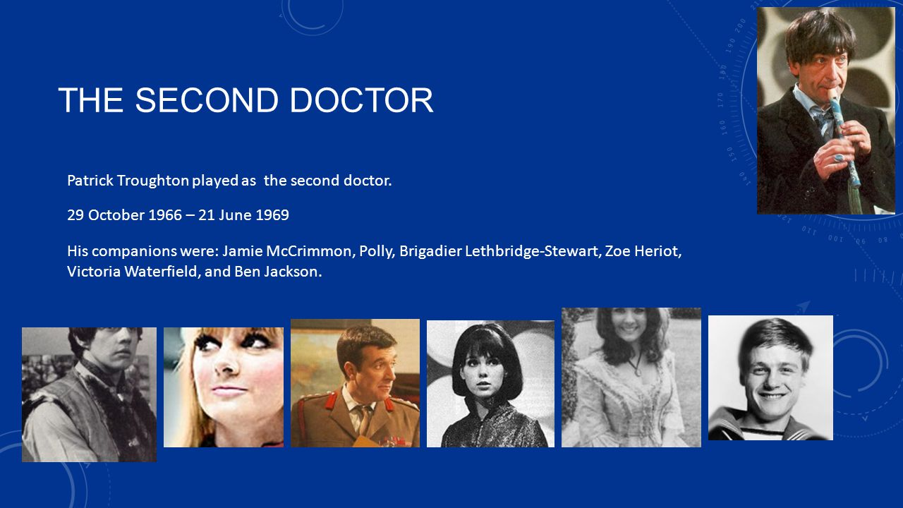 THE SECOND DOCTOR Patrick Troughton played as the second doctor.