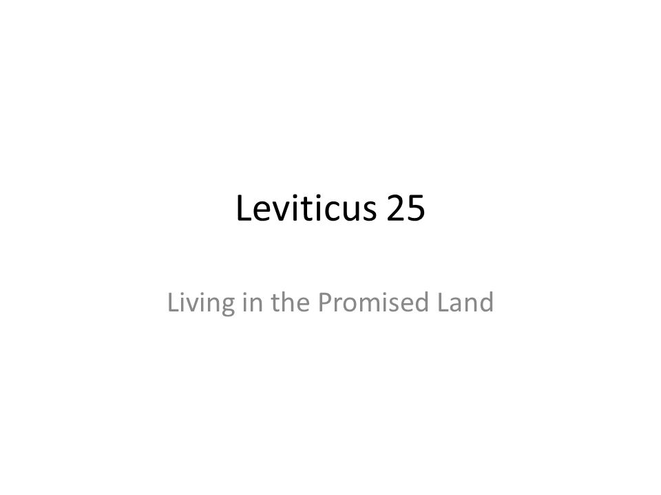 Living in the Promised Land