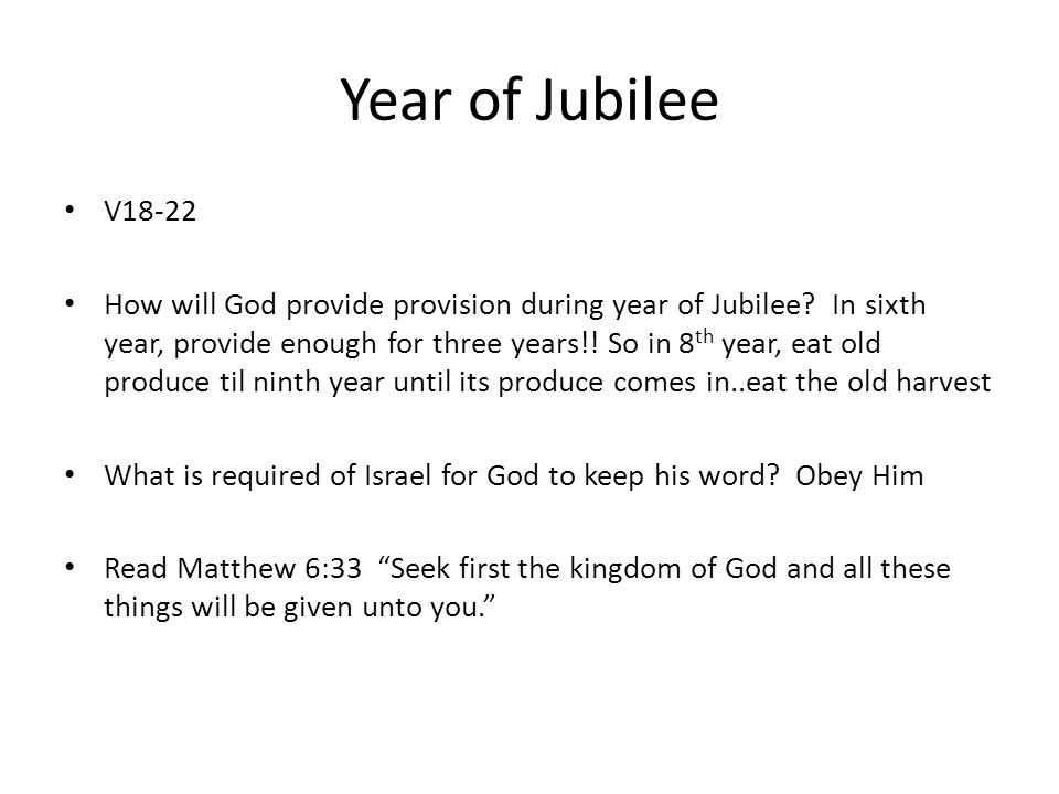 Year of Jubilee V18-22.