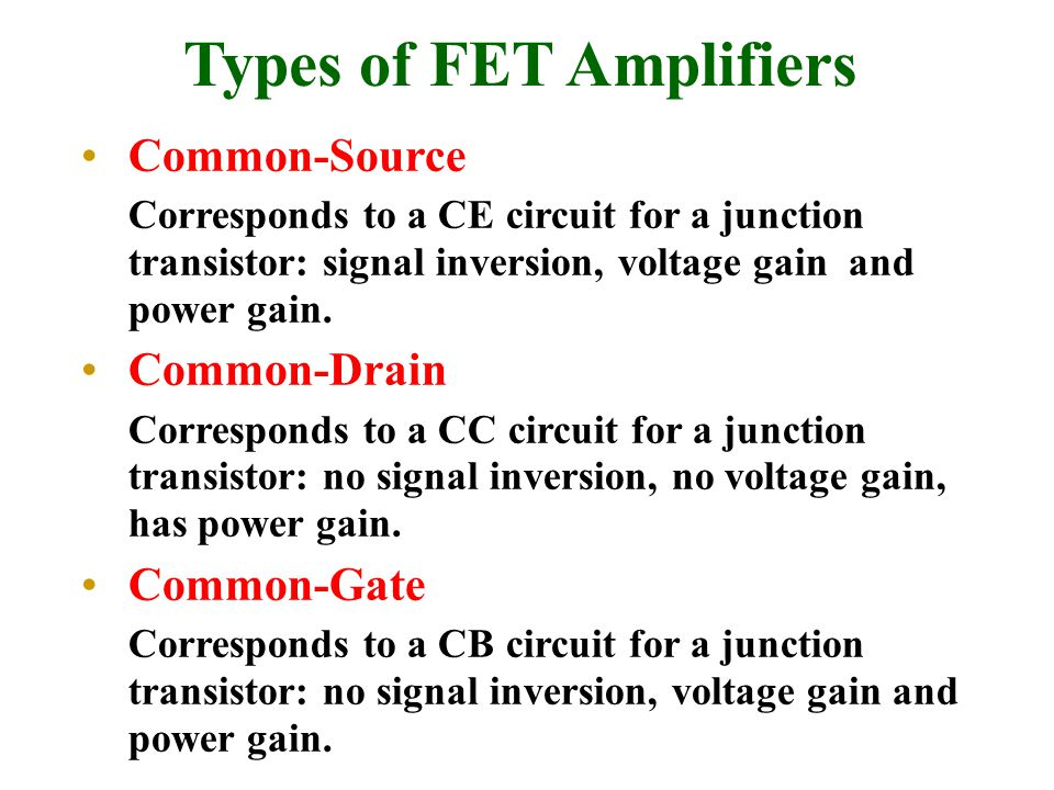Types of FET Amplifiers
