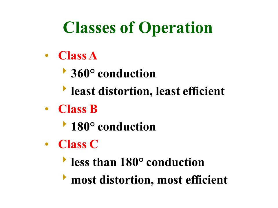 Classes of Operation Class A 360° conduction