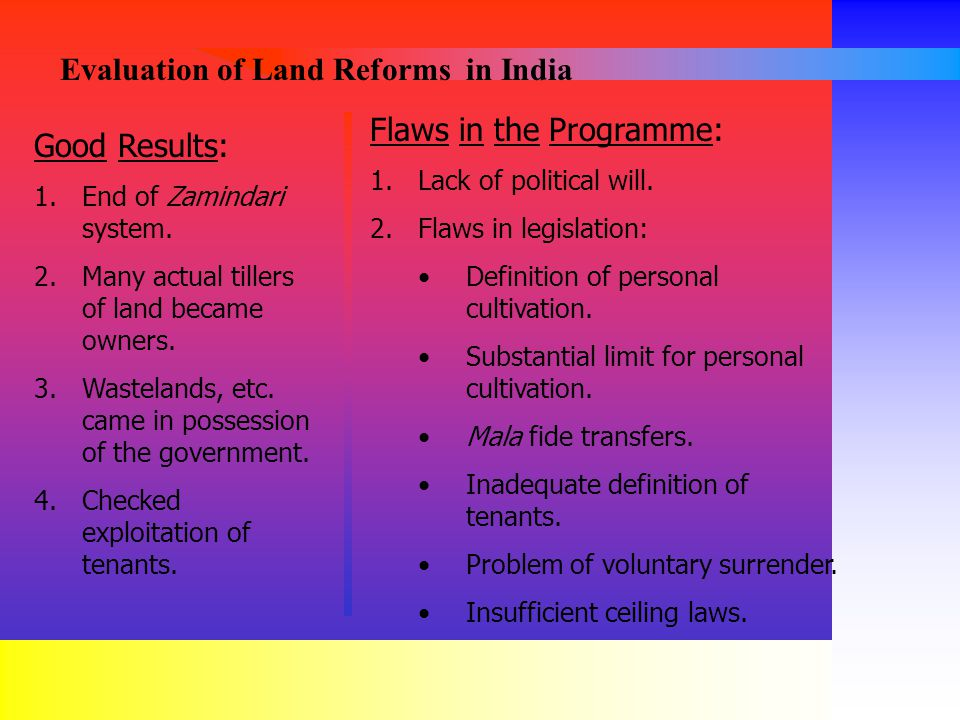 Evaluation of Land Reforms in India