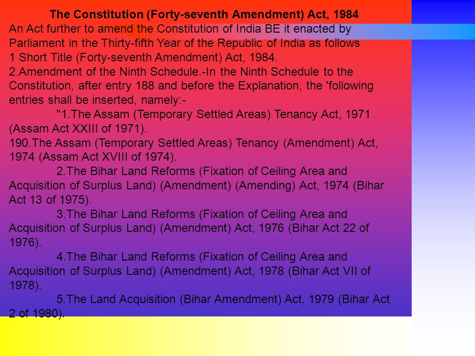 The Constitution (Forty-seventh Amendment) Act, 1984