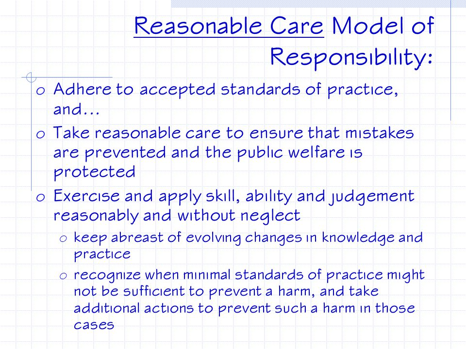 Reasonable Care Model of Responsibility: