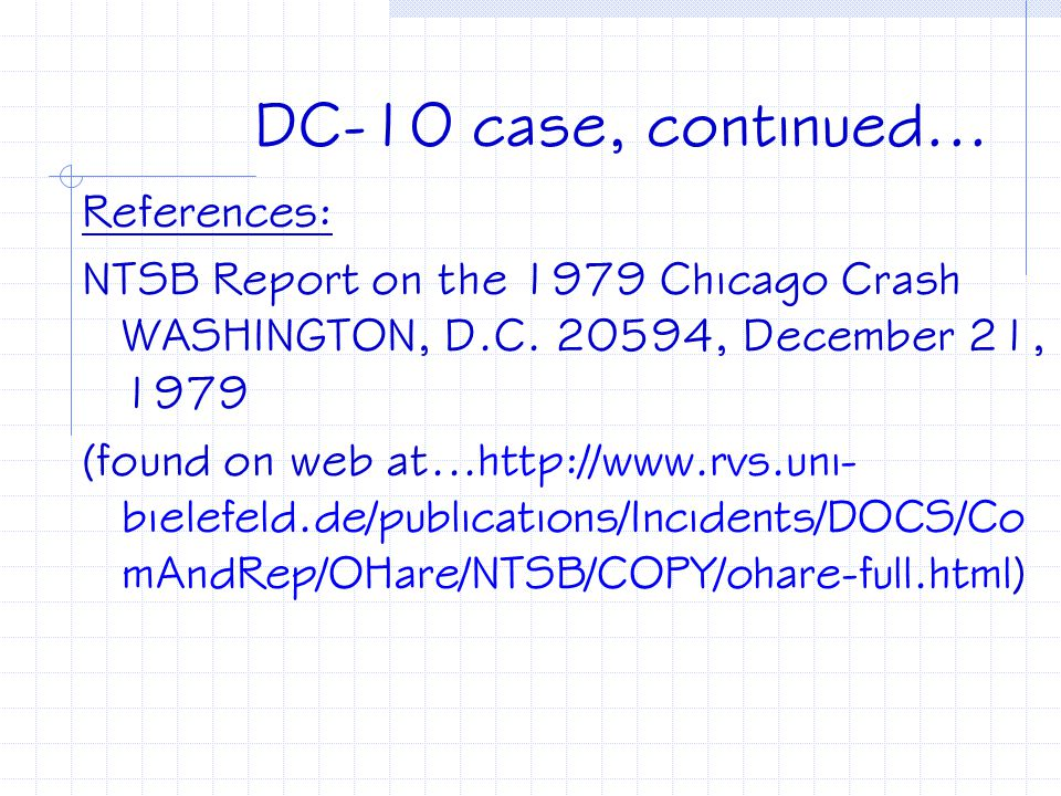 DC-10 case, continued... References: