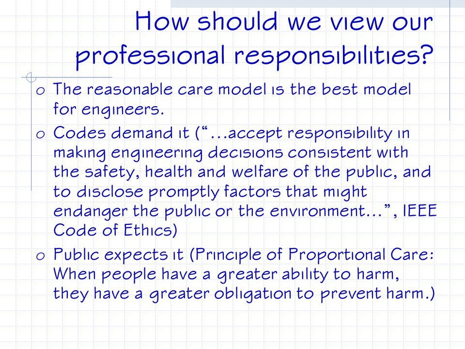 How should we view our professional responsibilities