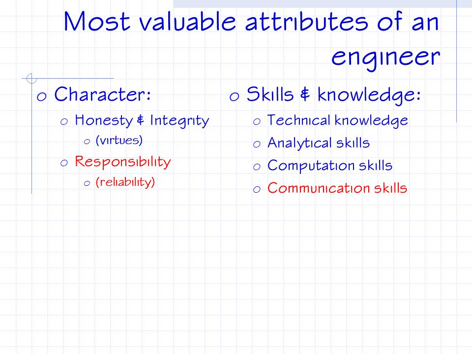 Most valuable attributes of an engineer