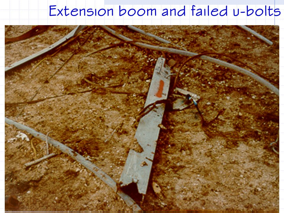 Extension boom and failed u-bolts