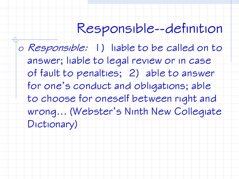 Responsible--definition