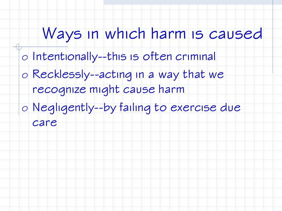 Ways in which harm is caused
