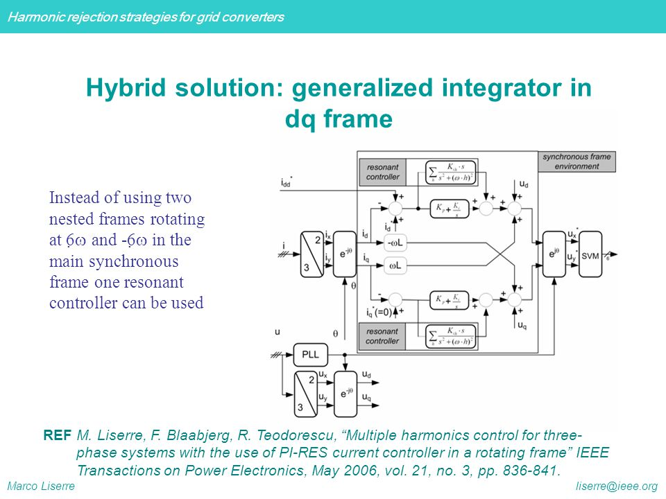Hybrid solution: generalized integrator in dq frame