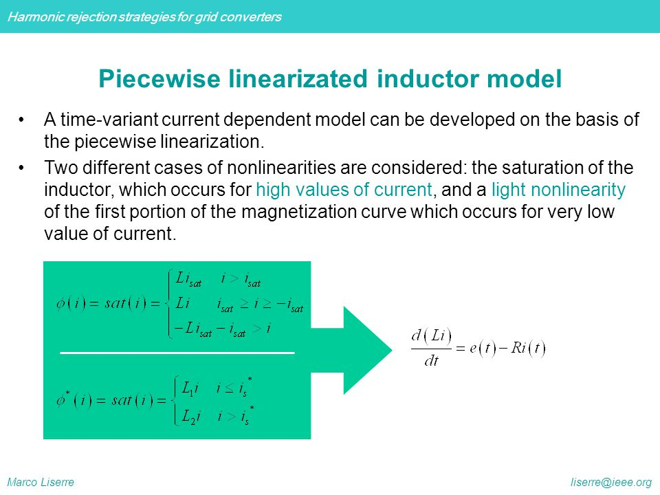 Piecewise linearizated inductor model