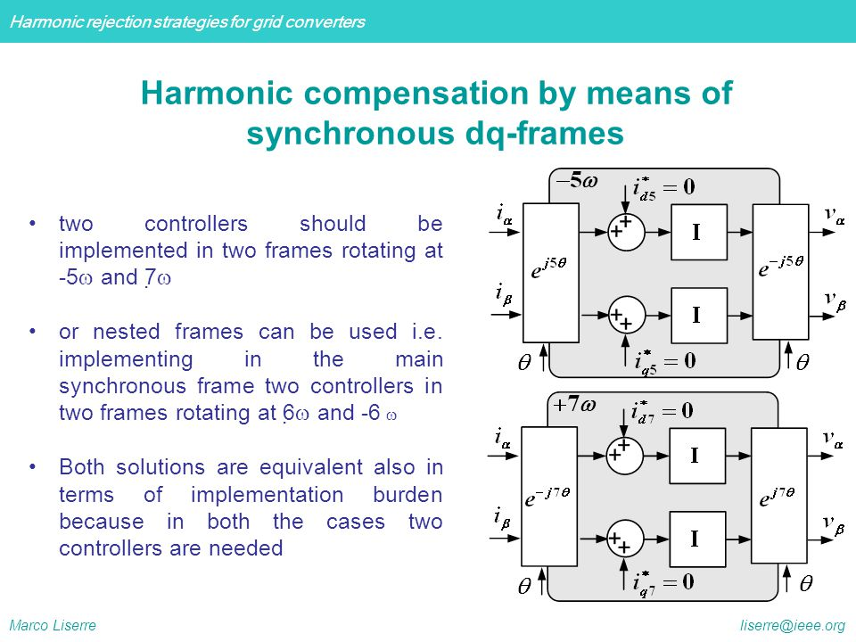 Harmonic compensation by means of synchronous dq-frames