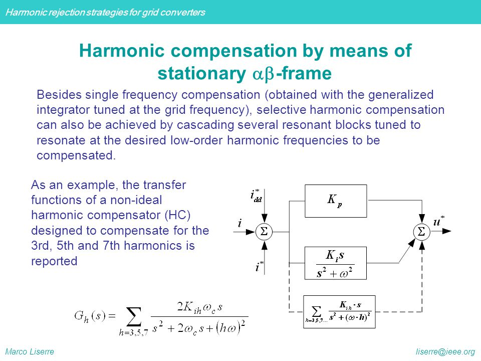 Harmonic compensation by means of stationary ab-frame