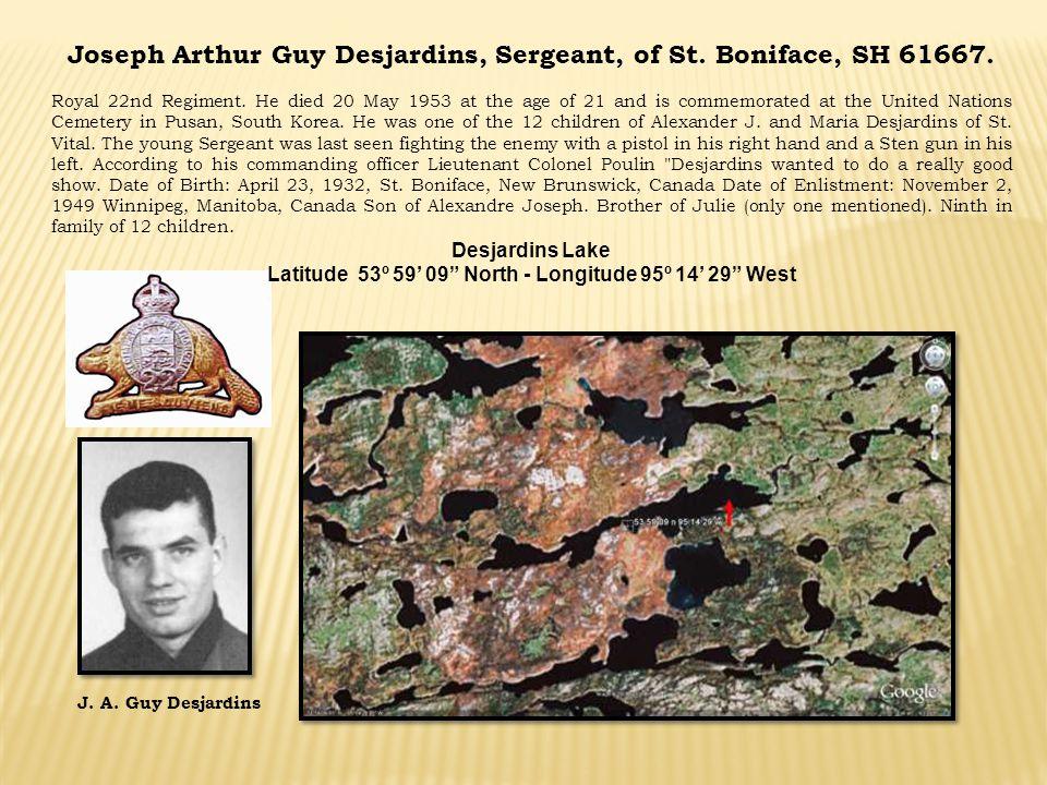 Joseph Arthur Guy Desjardins, Sergeant, of St. Boniface, SH 61667.