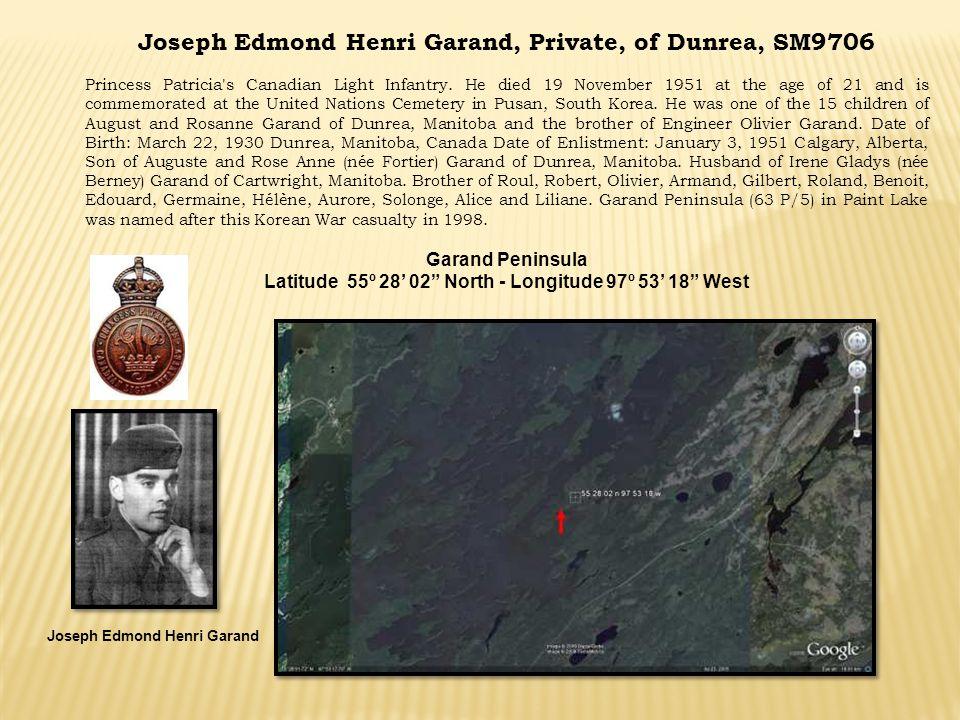 Joseph Edmond Henri Garand, Private, of Dunrea, SM9706