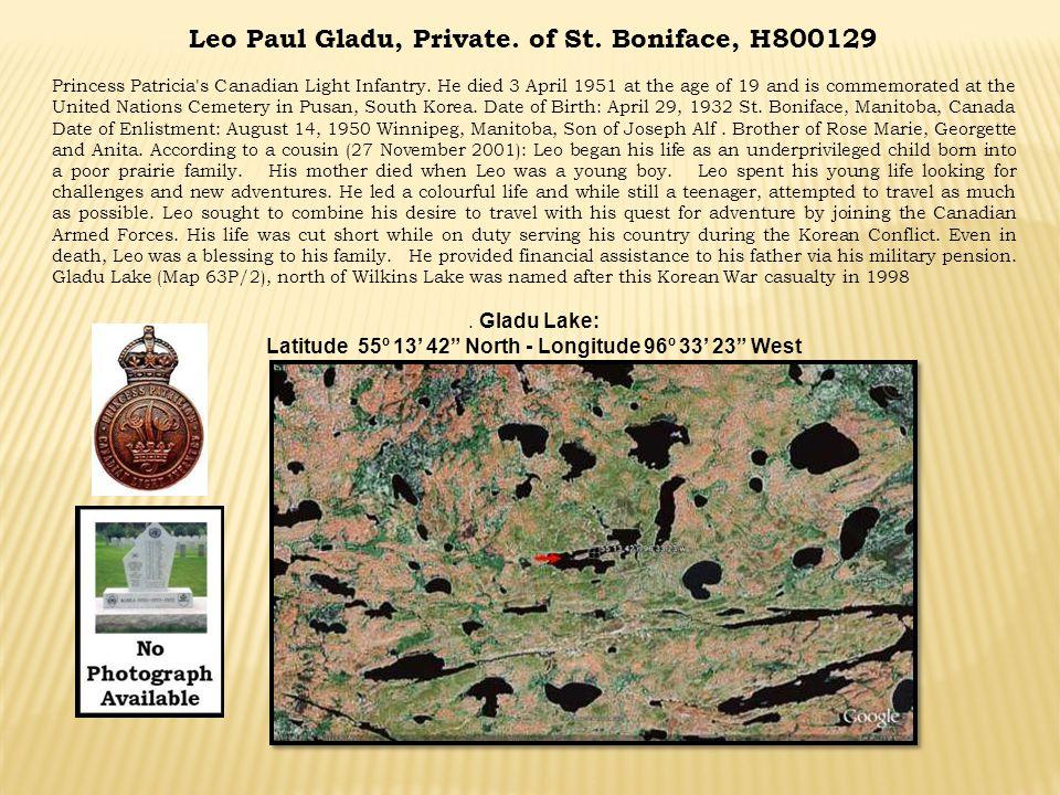 Latitude 55º 13' 42 North - Longitude 96º 33' 23 West