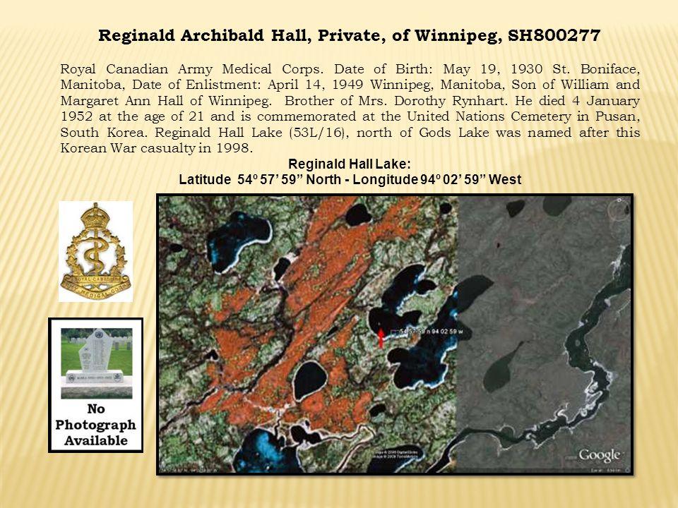 Reginald Archibald Hall, Private, of Winnipeg, SH800277