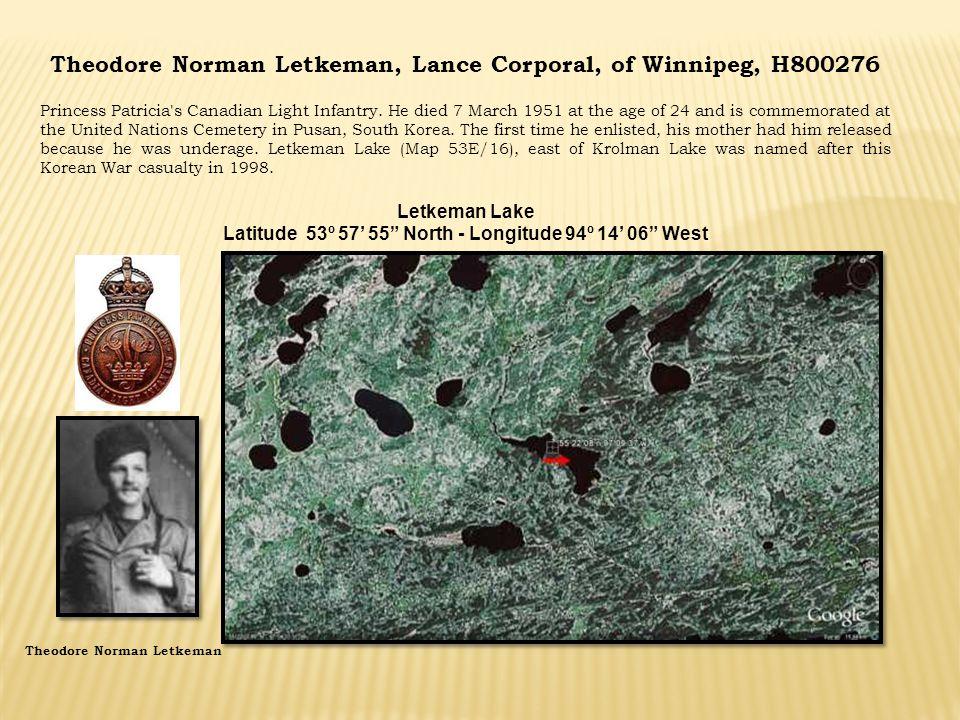 Theodore Norman Letkeman, Lance Corporal, of Winnipeg, H800276